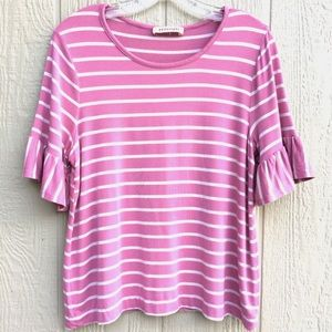 Philosophy Tops - Ruffles striped blouse purple white shirt sleeve